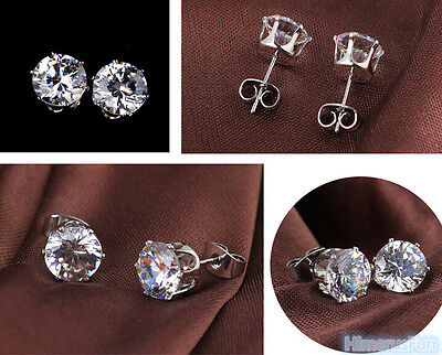 Unique Tiny Classic 18K White Gold Plated Zircon Crystal Studs Earrings 1 Pair