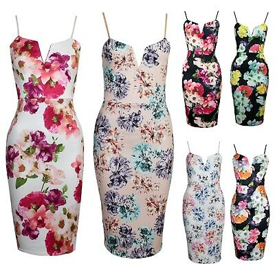 Womens Adjustable Strap V Front Floral Print Summer Midi Stretch Bodycon Dress