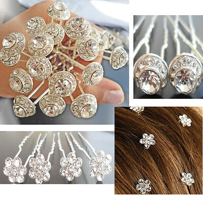 20 Silver Crystal Bridal Hair Accessory Hairdressing Pins Prom Clip Diamante