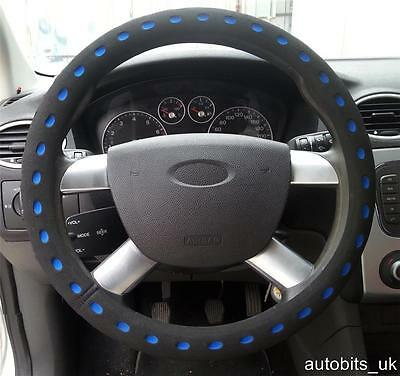Universal Blue  Black Comfy Foam Car Steering Wheel Cover Glove Padded Design