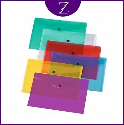 12 Plastic Document Wallets A4 With Popper In Assorted Colours Pack Of 12