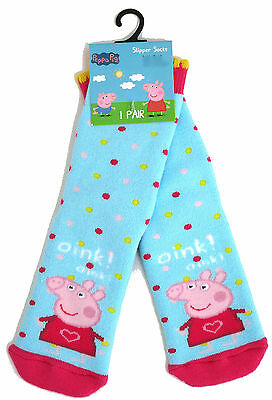 Young Girls Peppa Pig Blue Dotty Cosy Slipper Socks Uk Size 3-5.5 / 1-2 Years