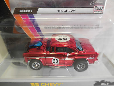 Auto World ~ '55 CHEVY CHROME RED ~ Sold Out Everywhere  ~ ALSO FITS AFX, AW, JL