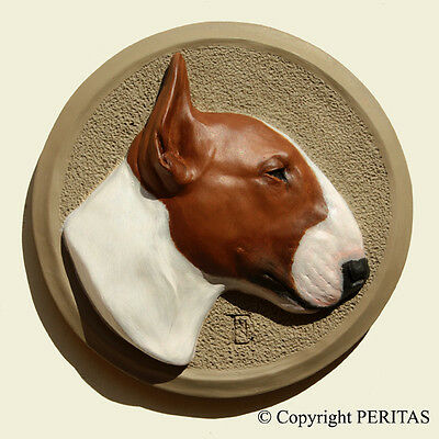 English Bull Terrier Bully dog PERITAS wall sculpture statue fine art painting