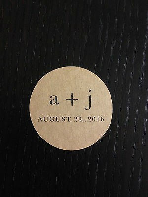 20 X Kraft Wedding Favour Sticker Labels Personalised Save the date Seals
