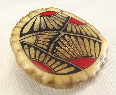 Native American Indian Authentic Bone Antler Hand Painted Artist Signed Pin Sbr3