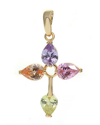 High Quality 18K Yellow GOLD filled gemstone cross NECKLACE Pendant