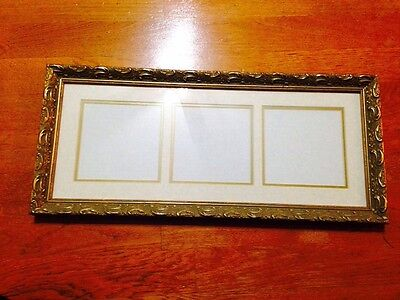 """3 Opening 5"""" x 5"""" Photos Gold & marble like tan Double Mat with Gold Frame"""