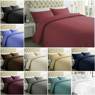Luxury 100% Egyptian Cotton Duvet Cover with Pillow Case Bedding Set Stripes