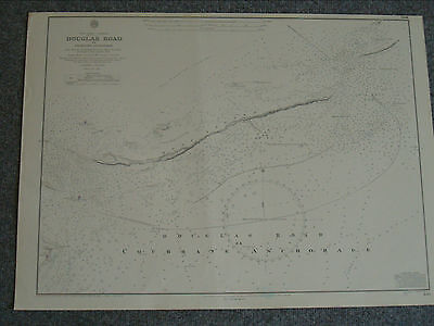 Vintage Admiralty Chart 406 BAHAMAS - - DOUGLAS ROAD 1843 edition