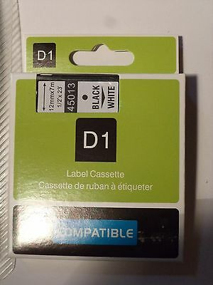 "Dymo D1 45113 Compatible Label Cassette Tape Black Print White 1/2"" X 23' 45013"