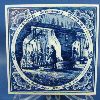 "f498: CHEESE WEIGHERY on 5¾x5¾"" DELFT BLUE TILE series ""OLD WORKSHOPS"""