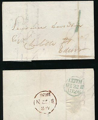 SCOTLAND 1826 LEITH 3 LINE CIRCLE + 1 HANDSTAMP both in BLUE