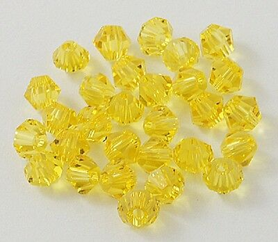 4mm Crystal Glass Bicone Beads, Faceted, Yellow jewellery making 50pcs