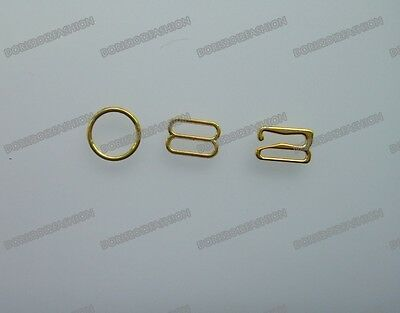 100 Gold Metal Bra strap Adjustment slides Rings Hooks Figure Lingerie 089 Pick