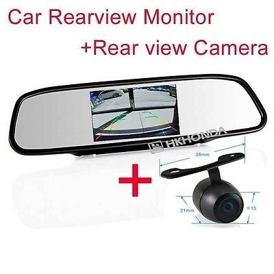 "4.3"" Screen TFT Car LCD Rear View Rearview DVD Mirror + Backup Camera For Dodge"