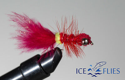3-pack Dog nobbler ICE FLIES Streamer fly Rubber legs - 10 Pink Size 2