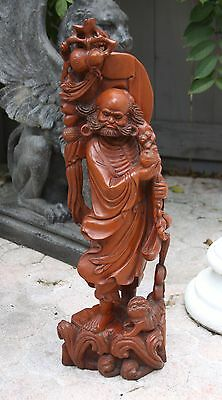 "Huge Antique Carved Chinese Wooden Sculpture of a Wiseman and his Dog (28"" High)"