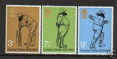 GB 1973 County Cricket 1873-1973 MNH mint set stamps