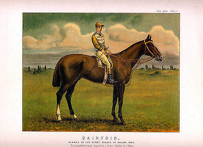 Horse Racing Hunting Equine Rare Antique Racehorse Chromolithograph Print