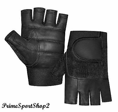WEIGHT LIFTING PADDED LEATHER GLOVES TRAINING FITNESS BODY BUILDING GYM 305