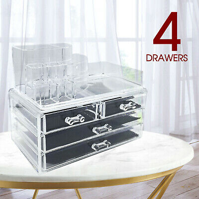 Cosmetic 4 Drawer Makeup Organizer Storage Jewellery Box Clear Acrylic