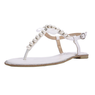 womens white bridal pearls wedding flat sandals t bar straps dresses party shoes