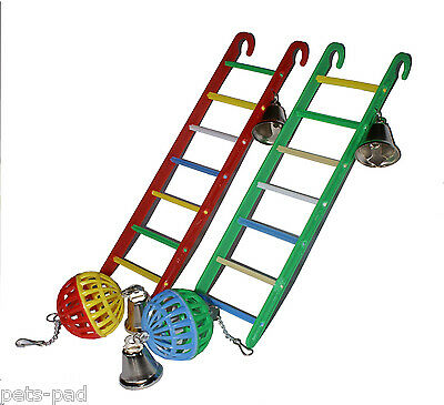 Budgie Cage Toy Set, 2 Ladders with Bell, plus 2 Hanging Balls with Bells