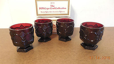 Avon Cape Cod Ruby Red Set Of 4 Footed Glasses Nib