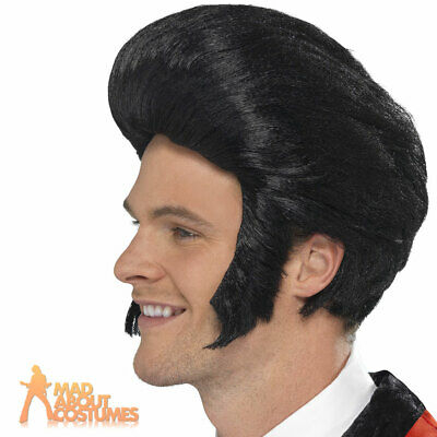 50s Black Quiff Wig with Sideburns Greaser Teddy Boy T Bird Mens Fancy Dress New