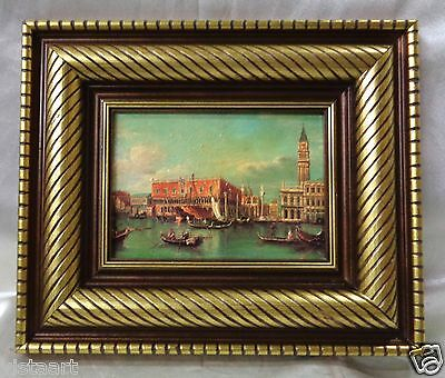 """Picture of People Canoeing in Venice w/ Gold Finish Vintage Wood Frame 11x13"""""""