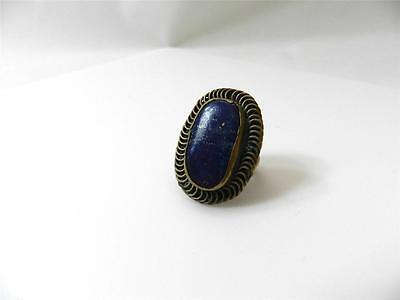 Very Vintage Old World Looking Chunky Brass Lapis Lazuli Ring ~ Size 6.75