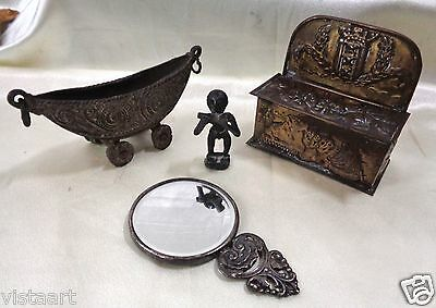 Set of 4 Estate Found Primitive Antique Pieces (Box, Mirror, Man Statue, Canoe.)