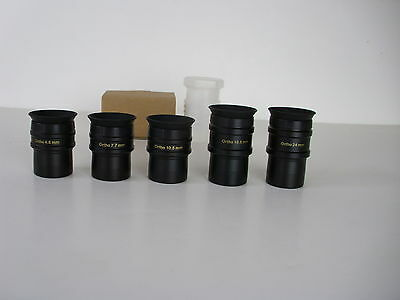 "SET OF 5 1.25"" FORMAT SUPER ORTHO EYEPIECES + INDIVIDUAL STORAGE CASES"