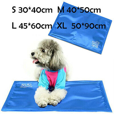 Pet Dog Cat Bed Non-Toxic Cooling Cool Water Gel Mat Summer Bed Pad 4 Sizes