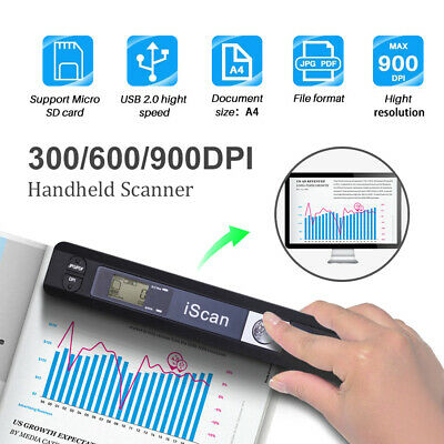 iscan Handheld Portable A4 Photo Document Scanner 900DPI Handyscan+8GB+Hard Case