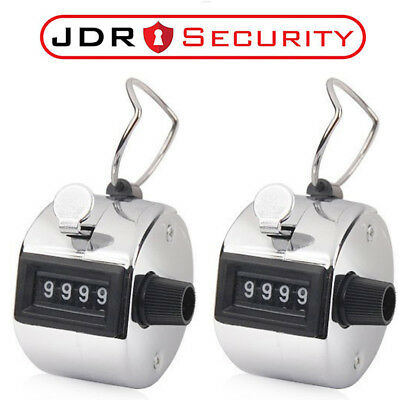2x 4 Digit Chrome Hand Held Tally Counter Clicker- Security, Doorman Golf Events