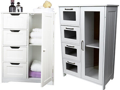 White Wooden Cabinet W 4 Drawers / Glass & Cupboard Storage Bathroom Or Bedroom
