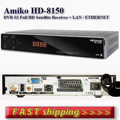 Amiko HD-8150 DVB-S2 Full HD Satellite Receiver. LAN, USB PVR, WIFI Ready,