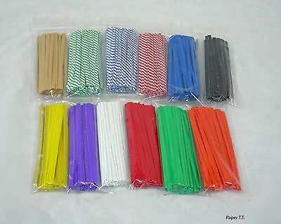 100, 500, 1000  PAPER Twist Ties Cello Bag or General Use U-Pick Color & Size