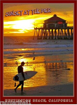 Huntington Beach Pier Sunset California United States Trvl Advertisement Poster