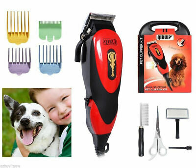 Cat Animal Hair Grooming Trimmer Electric Dog Pet Clipper Kit Blade Comb Set