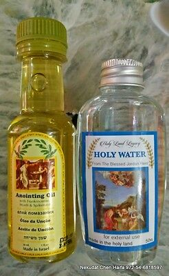 Anointing oil and Holy water blessed Jordan river Baptism site Israel