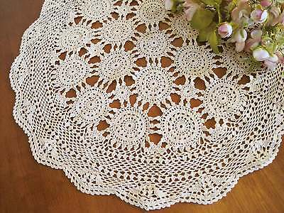 Vintage Style Classic Fine Yarn Hand Crochet Beige Cotton Doily 20""