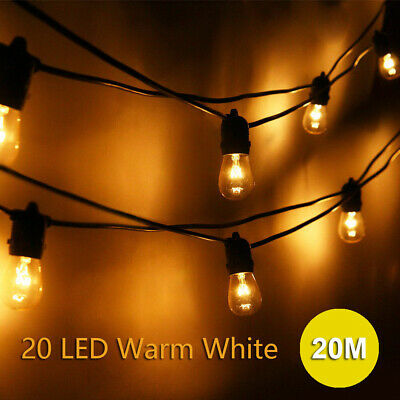 20m LED Bulb String Lights Fairy Party Christmas Wedding Party In/Outdoor Decor