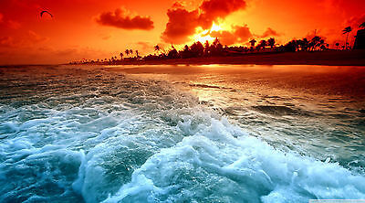 Australia Beach ocean sunset surf photo print canvas poster tropical art