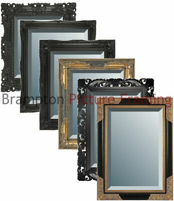 Ornate Black Framed Mirror (Bevelled) Vintage/Antique + Small, Med, Large