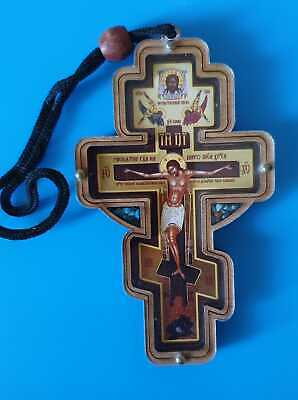 Russian Wood Orthodox Icon Cross for Car