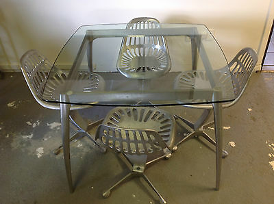 Mid century modern furniture Azcast dining set, silver and glass