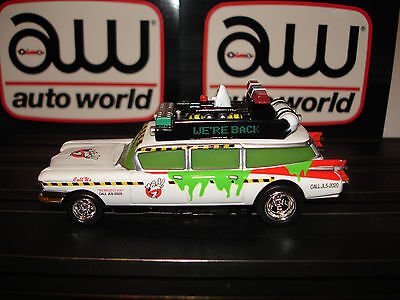 AUTO WORLD ~GHOSTBUSTERS ECTO-1A ~ NEW IN JEWEL CASE ~ ALSO FITS AW, AFX, JL